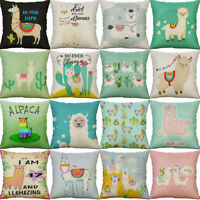 18'' Alpaca Print Pillow Case Cover Throw Sofa Car Cushion Cover Home Decor