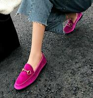 Womens Casual Velvet shoes flat heel slippers mules buckle slip On Loafers New