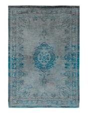 Louis De Poortere Medallion Rug Grey and Turquoise, 140 x 200cm