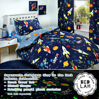 SUPERSONIC Space Glow in the Dark Reversible Duvet Cover Set Bedding Range Blue
