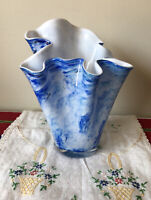 "Ruffled Vase Handkerchief Style Hand Blown Glass Blue White Swirls 8"" Vintage"
