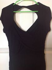 MACY'S Grass Collection Woman's M BLACK Fitted Cap Sleeve Ruched V-Neck Blouse