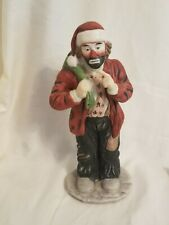 Emmett Kelly Jr. Christmas Figurine Sad Clown Wearing Santa Hat & Carrying Sack