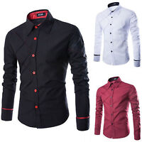Mens Slim Fit Long Sleeve Shirts Tee Tops Casual Business Formal T-Shirt Luxury