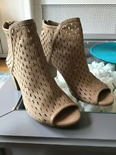 Dune Soft Leather Cut Work Peep Toe Ankle Boots Size 5/38