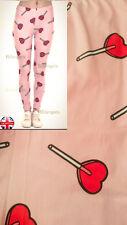 Super Suave Tela Mate Forma Corazón Lollipop de vestir Leggings Rosa UK 8-12