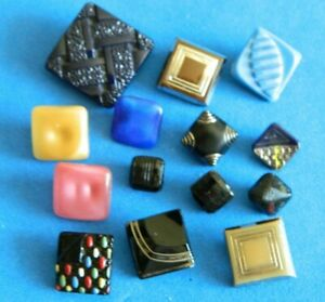 LOT Vintage SQUARE Glass Buttons Great Colors  Gold -Silver- Flash-Moonglows