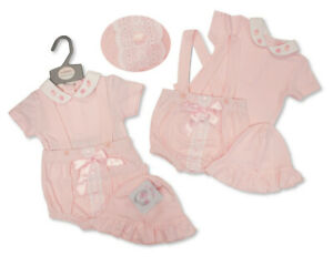 BNWT  baby pink girls 3 piece Spanish Romany dungaree  top & hat NB 0-3m 3-6m