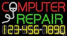 """NEW """"COMPUTER REPAIR"""" 32x17 w/YOUR PHONE NUMBER SOLID/ANIMATED LED SIGN 25061"""