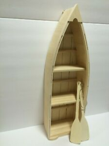 """New Unfinished Wood Boat Shelf with Oars 24"""" X 7 1/2"""" X 4 1/2"""" hangs on wall"""