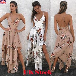 UK Sexy Women's Floral Long Maxi Dress Ladies V Neck Boho Beach Holiday Sundress