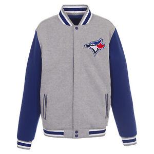 MLB Toronto Blue Jays Reversible Fleece Jacket  Front logos JH Design Gray Royal