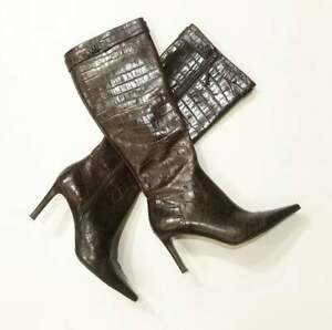 Vintage Dark Brown Lauren Ralph Lauren Crocodile Tall Leather Boots Size 8