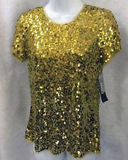 DKNY lined sequin gold metallic t shirt size 6 BEAUTIFUL! ORIGINALLY 295.