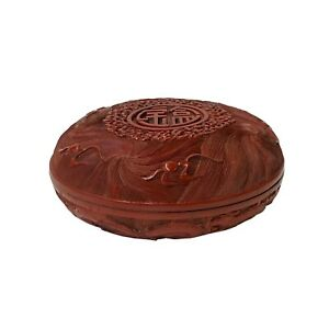 Chinese Red Resin Lacquer Round Dragons Carving Accent Box ws1495
