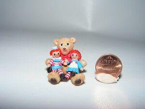 Artisan Dollhouse Miniature doll RAGGEDY ANN and ANDY sitting on a TEDDY BEAR