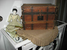 1900 Antique Victorian Wood/Paper Doll Trunk W/China Doll W/ 'Play Dollies' Book