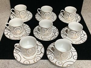 Pier 1 Gold Swirl Cups and Saucers Set for 8 (SH33)