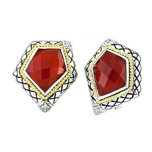 Andrea Candela 18k Gold Sterling Diamond & Red Agate Cable Earrings ACE337/07-RA