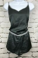 Womens PJ Romper American Eagle AERIE Dark Gray Satin Sleep Pajamas Large