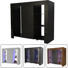 Modern Cabinet Cupboard sideboard Matt Body and High Gloss Doors + LED Light UK