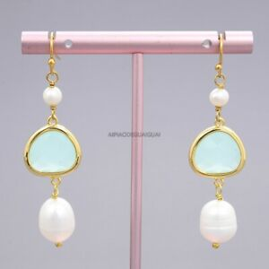 Natural White Rice Pearl Colorful Green Crystal Gold Plated Hook Earrings