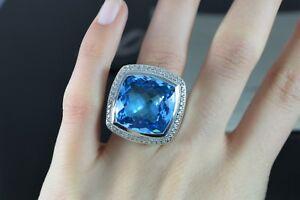 $2,950 David Yurman Albion 20mm Blue Topaz Diamond Silver Cocktail Ring Band 5