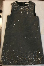 I PINCO PALLINO Italian Luxury Designer Dress Girls Size 10 Gray sequin Wool