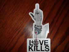 ELEMENT RARE CHAD MUSKA MIDDLE FINGER LOVE KILLS DIE CUT LOGO SKATEBOARD STICKER