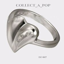 Authentic Kameleon Ice 925 Silver Solid Matte Heart Ring Size 7  IR007