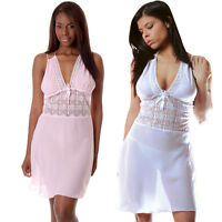 Plus Size Lingerie Sz 1X 2X 3X Pink or White Georgette Chiffon Chemise VX4053X
