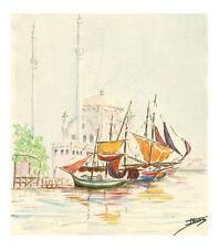 Aquarelle originale  sur papier canson Marine  Voiliers devant Mosquée J.Lucas