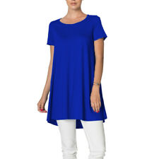 NEW USA Womens Short Sleeve Tunic Top Dress Round Neck