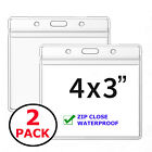 2 PACK WATERPROOF 4x3 Vaccine Card Holder ZIP CDC Vaccination ID Protector Badge