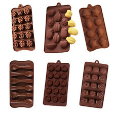 Silicone Candy Chocolate Soap Molds Baking Rose Fruits Seashell Spoon Sunflower