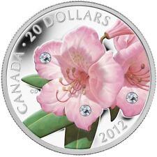 2012 Canada $20 Swarovski Crystals - Rhododendron .9999% Fine Silver Coin & COA