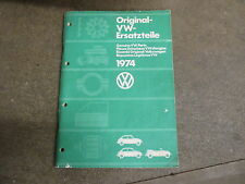 Volswagen 1974 car bug parts manual