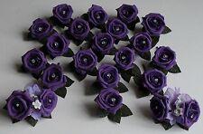 Wedding Purple Rose Flower Crystal Diamante Groom Guest Buttonhole Package