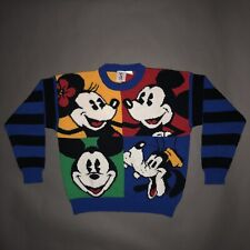 Vintage 90s MICKEY MOUSE KNIT SWEATER Disney Sweatshirt MINNIE GOOFY 1990s M/L