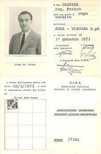 Tessera Confederazione Italiana Dirigenti Azienda (CIDA) - Roma, 1973