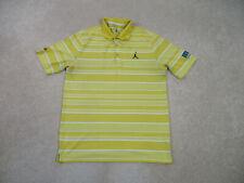 Jordan Polo Shirt Adult Medium Yellow Black Jumpman Golfer Casual Mens A57*