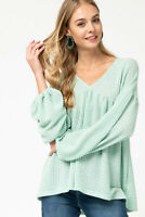 Entro Mint V-Neck Waffle Knit Long Sleeve Top