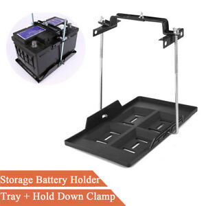 Adjustable Storage Battery Holder Tray + Hold Down Clamp for Automotive Marine