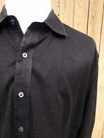 Robert Graham Black Self Print 100% Cotton Men's Shirt Size 2XL-2TG