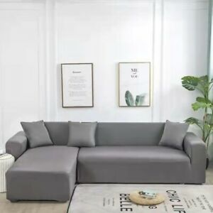 Sectional Sofa Cover Stretch Seperate Couch Cover 2pcs for L Shape Corner Sofa