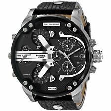 DIESEL DZ7313 MENS MR DADDY 2.0 57MM BLACK LEATHER CHRONOGRAPH WATCH