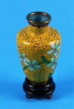 CHINA Antique Cloisonne  景泰蓝 - Enamel MINI Floral VASE + base - 2,3 inch -1970th
