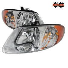 01-07 Dodge Caravan  Chrysler Town& Country Euro Headlights Chrome Housing Clear