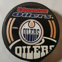 EDMONTON OILERS NHL OFFICIAL INGLASCO + VEGUM MFG. HOCKEY PUCK SHADOW LOGO