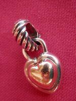 David Yurman Sterling Silver 14K Gold 2-Tone Puffy Heart Enhancer Pendant 6 Gr